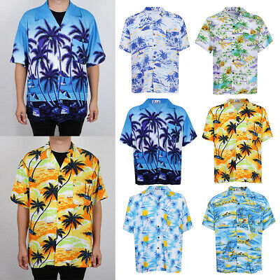 Hawaiian Blue Palm Trees Shirt Adult Mens fancy dress costume Stag Night Party