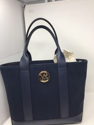 09578485d4757b New Authentic Michael Kors Fulton Canvas Navy Md Medium Tote Women's Handbag