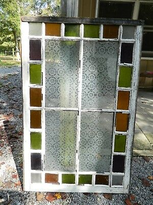 Vintage Colored Stained Etched Glass Church Window #1