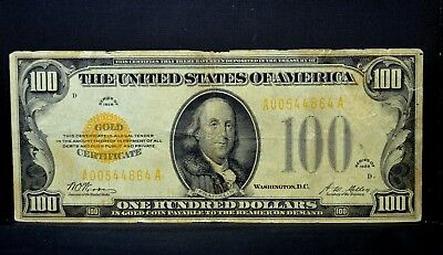 1928 $100 Gold Certificate ✪ Vg Very Good ✪ Fr 2405 Woods Mellon App ◢Trusted◣