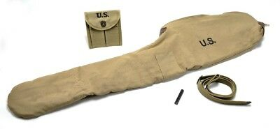 WW2 .30 M1 CARBINE SLING OILER BUTTSTOCK POUCH & FLEECE CASE KHAKI Dated 1942