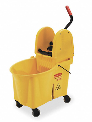 NEW! RUBBERMAID 11-Gal YELLOW POLYPROPYLENE MOP BUCKET & WRINGER, FG757688YEL