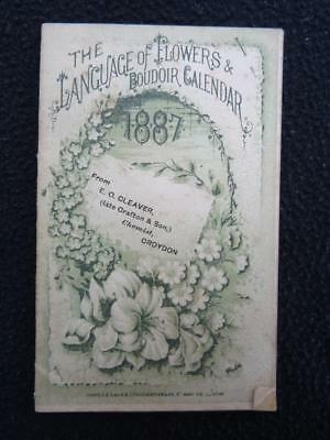 Antique Victorian Pocket Boudoir Calendar - The Language of Flowers - 1887