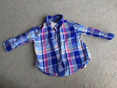 Ralph Lauren Baby Shirt 9 Months Checked Top Long Sleeves Baby Boy