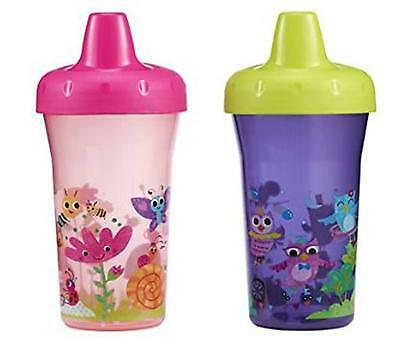 The First Years 2 Pack 9 Ounce Stackable Sippy Cups, Owl/Garden New 9m+