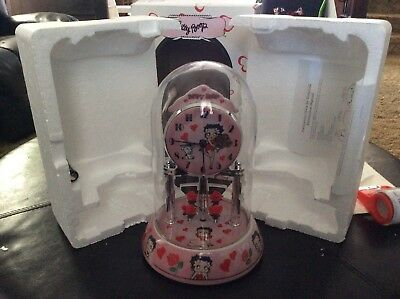 Betty Boop Anniversary Clock w/ Red hearts & flowers and glass dome