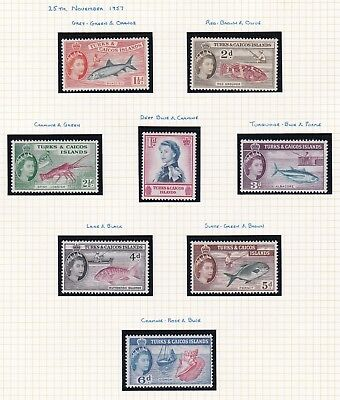 Commonwealth. Turks and Caicos Islands. FIVE PAGES 1957 set + 1963-66 issues. M.
