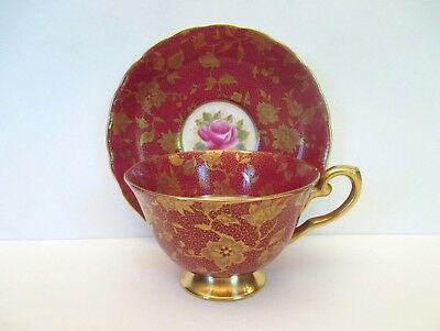 Tuscan Floral with Red and Gold Cup and Saucer, England