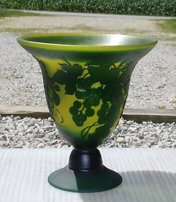 "Galle Cameo Art Glass compote vase Green chartreuse Antique Signed 7 1/2"" tall"