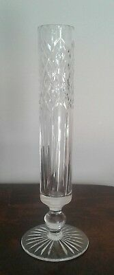 Vintage Retro Stuart Crystal Single Flower Vase Hand Cut Crystal Signed
