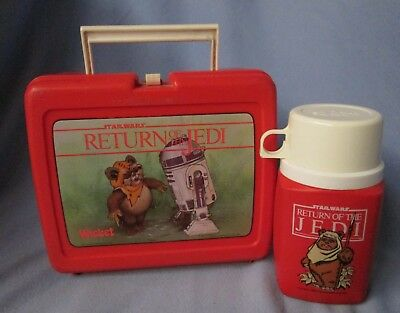 1983 Star Wars Return of the Jedi plastic lunch box w/ Thermos Wicket  & R2-D2