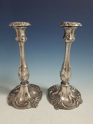 """Antique Pair of Silverplate Fancy Candlestick Holders 10"""" High"""