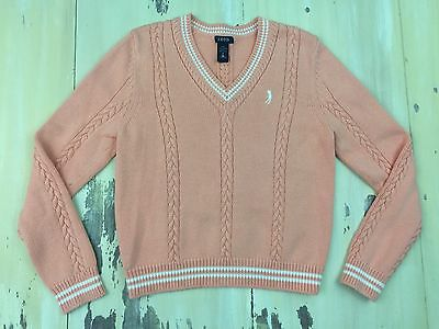 IZOD GOLF - Womens Light Pink / Peach Cotton V-neck Cable Knit Sweater, MEDIUM