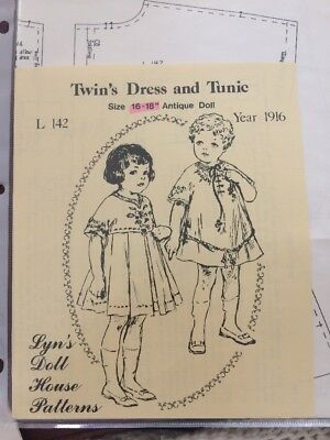 "L142 Lyn's Doll House Patterns 1916 Doll Girl's Twin's Dress/Tunic - 16-18"" Doll"