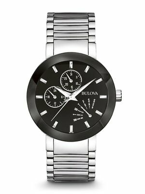 Bulova Men's Watch Stainless Steel Black Dial 40mm Day/Date 96C105