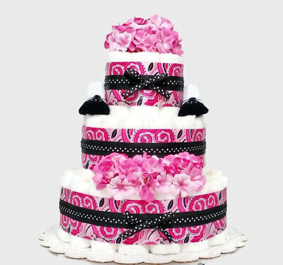 Pink Paisley Baby Girl Diaper Cake - Baby Shower Centerpiece