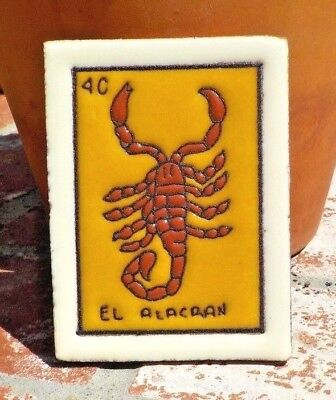 EL ALACRAN LOTERIA RED CLAY TILE 3 IN x 4 IN HAND MADE MEXICO WITH FREE SHIPPING