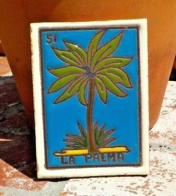 LA PALMA LOTERIA RED CLAY TILE 3 IN x 4 IN HAND MADE MEXICO WITH FREE SHIPPING
