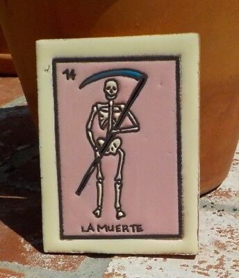 LA MUERTE LOTERIA RED CLAY TILE 3 IN x 4 IN HAND MADE MEXICO WITH FREE SHIPPING