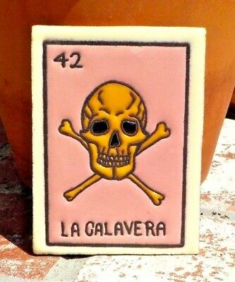 LA CALAVERA LOTERIA RED CLAY TILE 3 IN x 4 IN HAND MADE MEXICO W/ FREE SHIPPING