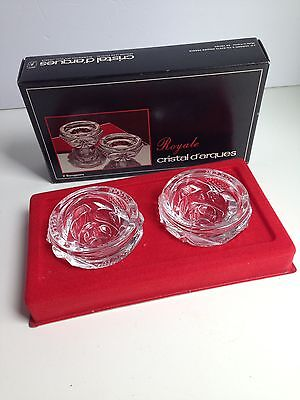Vintage Pair Cristal D'Arques Candle Holders, ROYALE, Crystal