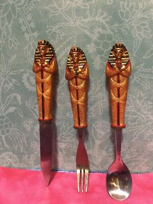 Egyptian Collectables King Tut Knife Fork Spoon Set (3) Gold And Silver Colored