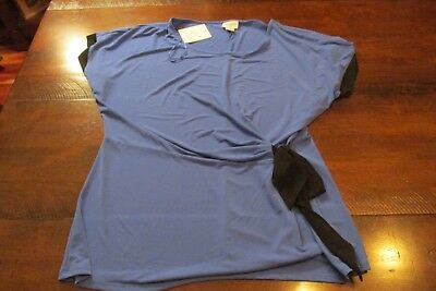NWT french blue stretch fabric crossover look top with black bow tie sz XL