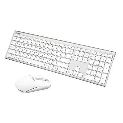 2.4GHz Ultra Thin Rechargeable Aluminum Full Size Wireless Keyboard Mouse Combo
