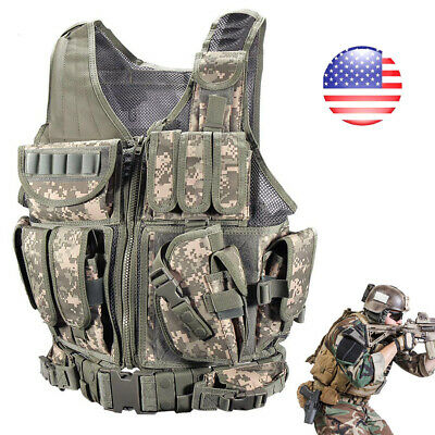 Tactical Vest Military Plate Carrier Holster Police Molle Assault Combat Gear