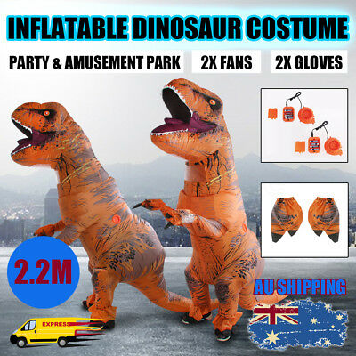 Adult Inflatable Dinosaur Costume Jurassic World Park Blowup Dress Trex 2.2M OZ