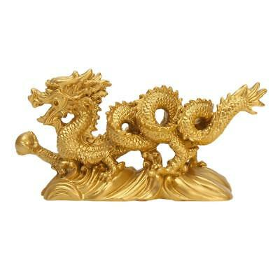 Resin Gold Dragon Statue Figurine Ornaments Chinese Geomancy Home Office Decor