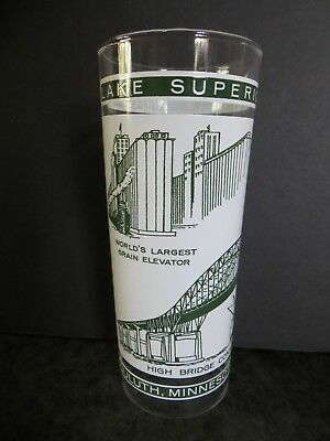Duluth Minnesota Superior Wisconsin VINTAGE SOUVENIR GLASS TUMBLER Lake Superior