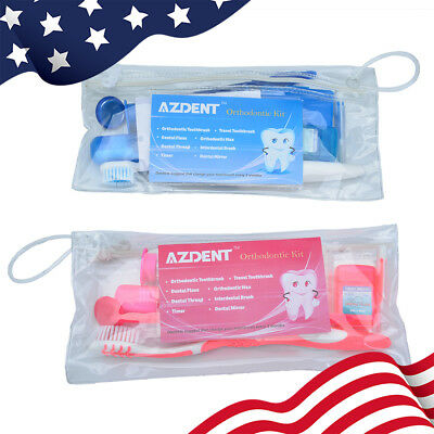 Dental Inter Toothbrush Oral Care Kit Brush Floss Orthodontic Wax Ties  mirror