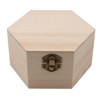 1pce Retro Hexagon Wooden Box Watch Earrings Jewelry Treasure Case Storage Box