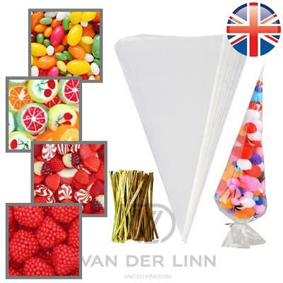 *UK Seller* Large size Cellophane Cone Bags Twist Ties Party Sweet Cello Candy