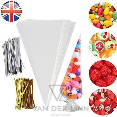 *UK Seller* Medium size Cellophane Cone Bags Twist Ties Party Sweet Cello Candy