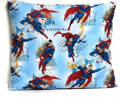 Superman Toddler Pillow on Light Blue 100%Cotton SM7-1 New Handmade