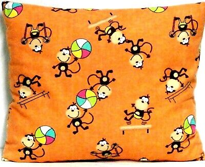 Monkeys Toddler Pillow on Apricot Orange Flannel CG6-4 New Handmade