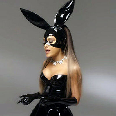 Hot Sexy Black Latex Bunny Hood Rubber Mask For Catsuit Club Partr Holiday Wear