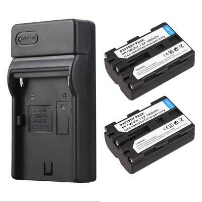 2x 1800mAh NP-FM500H Battery + Charger For Sony A57 A58 A65 A99 A550 A560 Camera