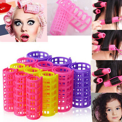 12 PCS Curler Roller Large Grip Cling Hair Styling Curler Hairdressing Tool US