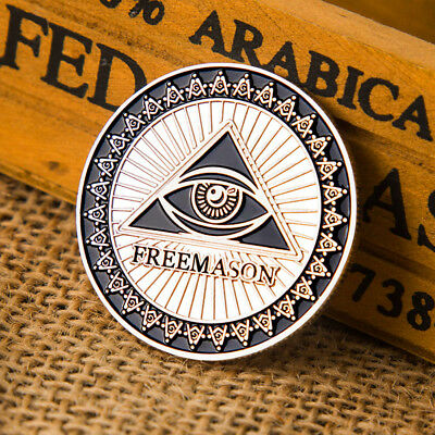 Masonic Freemason Silver Plated Commemorative Coin Token Collectible Physical JF