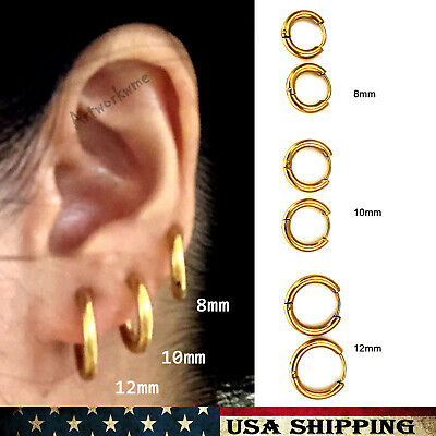 Gold (3Pairs) Mens Womens Stainless Steel Tube Hoop Ear Ring Stud Earrings