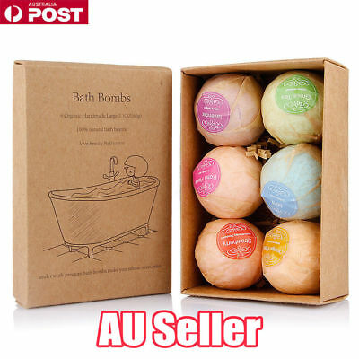 6Pcs Aromatherapy Bubble Bath Bombs with Coconut Oil GIFT Bath Fizzies NW