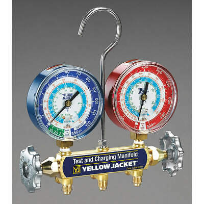YELLOW JACKET Forged Brass Mechanical Manifold Gauge Set,2-Valve, 42005
