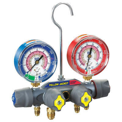 YELLOW JACKET Forged Aluminum Alloy Mechanical Manifold Gauge Set,4-Valve, 49963