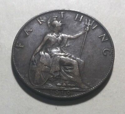 Great Britain (UK) 1919 Farthing Coin - King George V