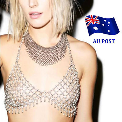 Women Retro Exaggerated Metal Hollow Flower Punk Bra Body Chain Jewelry NW