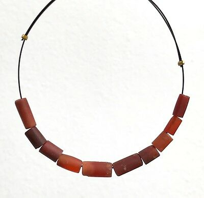 10 Ancient Pyu Carnelian Bracelet Tube Beads #212