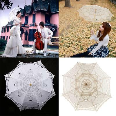 Handmade Lace Umbrella Wedding Parasol Bridal Shower Decor Photo Prop 30 Inch
